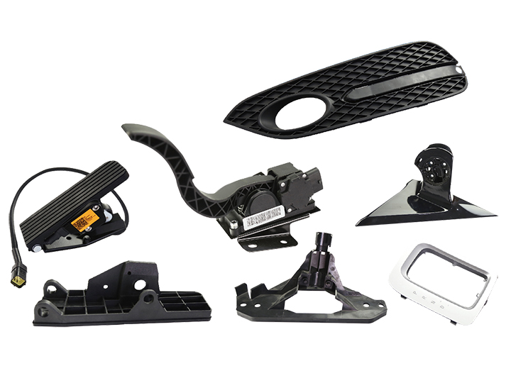Automotive exterior trim and accelerator pedal